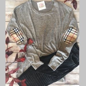 Sweaters - Super Soft Brushed Knit Top Plaid Elbow Patch NWT